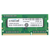 Память SODIMM DDR3 PC3-12800 Crucial 2GB, 204-pin SODIMM, DDR3 PC3-12800 memory module (CT25664BF160B), 2Гб, 1.35 В