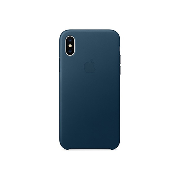 Чехол для iPhone X Apple Leather Case, Cosmos Blue (MQTH2ZM/A)