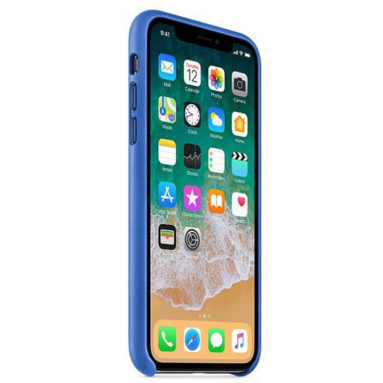 Чехол для iPhone X Apple Leather Case, Electric Blue (MRGG2ZM/A)