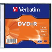 Диск DVD-R Verbatim 4.7Gb 16x Slim case (1шт) (43547)